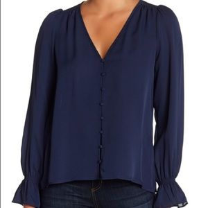 NWOT Joie navy blue silk bolona button down blouse